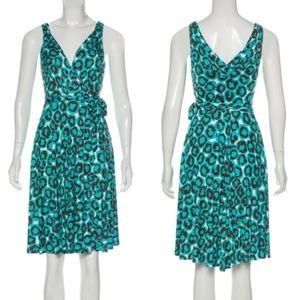 DVF Lora Blue Leopard Silk Sleeveless Wrap Dress 2